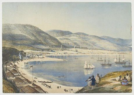 Part of Lambton Harbour, New Zealand, by artist Charles Heaphy and lithographer Thomas Allom, Hocken Collections, 11,736